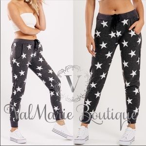 ‼️LAST PAIR - Charcoal star print lounge pants